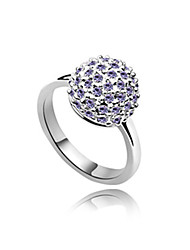Alloy and Crystal Ball Shape Platinum Plated Ring