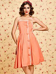TS VINTAGE 1950s Strapless Button Embellished Dress
