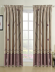 dois painéis floral cortinas de painel de poliéster quarto champanhe botânico cortinas
