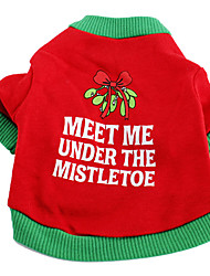 Dog Shirt / T-Shirt Red Dog Clothes Spring/Fall Letter & Number Holiday / Christmas