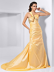 Formal Evening Dress - Daffodil Plus Sizes / Petite Trumpet/Mermaid One Shoulder / Sweetheart Court Train Taffeta