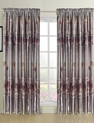 Two Panels Floral  Botanical Lavender Bedroom Polyester Blackout Curtains Drapes