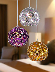Comtemporary Metal Pendant Lights with 3 Lights in Floral Shades