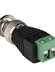 coaxial macho BNC coaxial câmera balun tv conector (10 peças)