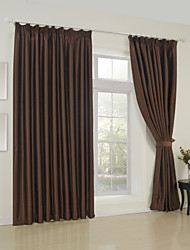 (Two Panels) Classic Solid Brown Room Darkening Curtain