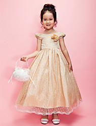 A-line/Princess Tea-length Flower Girl Dress - Tulle/Lace/Taffeta Short Sleeve