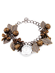 Quartz Movement Round Shape with Leaves Bracelet Watch