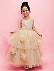 Lanting Bride A-line / Ball Gown Ankle-length Flower Girl Dress - Tulle Short Sleeve Square / Straps withDraping / Flower(s) / Sash /