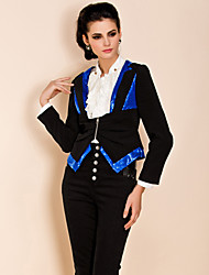 TS Sequin Embroidery Contrast Color Slim Blazer