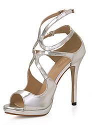 hermosas sandalias de tacón de aguja imitación piel con hebilla de fiesta / zapatos de noche