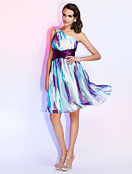 Cocktail Party / Holiday / Homecoming Dress - Print Plus Sizes / Petite Sheath/Column One Shoulder Knee-length Chiffon