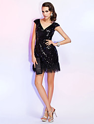 TS Couture® Cocktail Party / Homecoming / Holiday / Wedding Party Dress - Little Black Dress Plus Size / Petite Sheath / Column V-neck Short / Mini