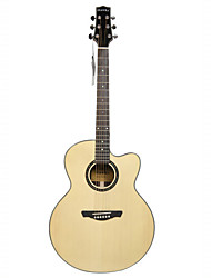 "Hawks 41"" Advanced Cutaway Solid Spruce Top Abalone Rosette Acoustic guitar"