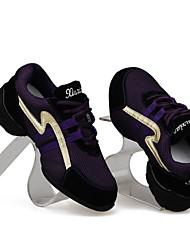 cuero real de las mujeres hermosas zapatillas de tacón plano danza / baile con zapatos de baile con cordones