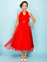 Tea-length Organza Junior Bridesmaid Dress A-line / Princess Halter Natural with Draping / Sash / Ribbon / Crystal Brooch