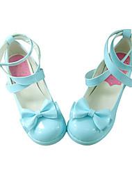 Blauw PU leer 4.5cm High Heel Classic Lolita schoenen met Bow