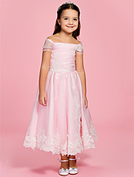 A-line Princess Ankle-length Flower Girl Dress - Organza Bateau Off-the-shoulder with Appliques Bow(s) Ruching