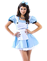 Sexy Women's Blue Fairy Tail Maid Dress Halloween Costume(4 Pieces)