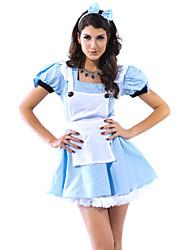 azul de mulheres sexy de fadas cauda empregada vestido de traje de Halloween (4 peças)