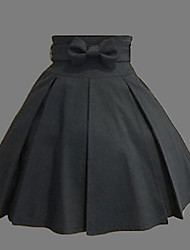 Knee-length Black Cotton Western Style Classic Lolita Skirt
