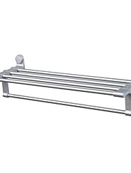 Modern Wall Mount Anodizing Finish Aluminum Towel Shelf With Towel Bar