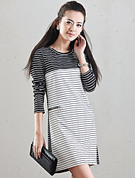 Great Stripes Round Long Sleeve Dress