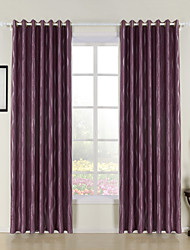 Rococo Two Panels Stripe Purple Bedroom Polyester Panel Curtains Drapes