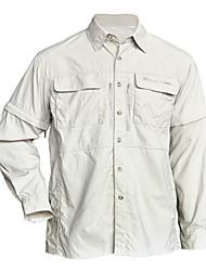 Pesca desportiva de nylon de 100% 2-em-1 Uso camisa amovíveis (Khaki / Dark Gray)
