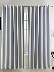 Classic Grey Solid Polyester Blackout Curtains Two Panels