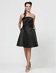 Knee-length Strapless Spaghetti Straps Bridesmaid Dress - Little Black Dress Sleeveless Satin