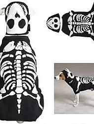 pethingtm [xmassale] nachtleuchtenden Hunden Knochen Stil Overall mit Augenklappe für Hunde (schwarz, XS-XL)