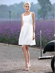 Lanting Bride A-line / Princess Petite / Plus Sizes Wedding Dress-Short/Mini Scoop Taffeta