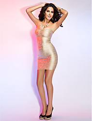 TS Couture® Cocktail Party / Holiday Dress - Champagne Petite Sheath/Column Strapless Short/Mini Rayon