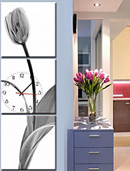 Contemporary Style Botanical  Canvas Wall Clock in 3pcs