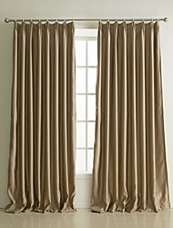 Neoclassical Two Panels Solid Khaki Living Room Polyester Blackout Curtains Drapes