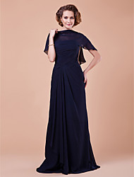 A-line Plus Sizes Mother of the Bride Dress - Dark Navy Floor-length Sleeveless Chiffon