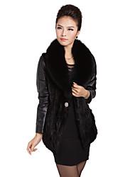 Charmant manches longues Fox Fur Collar fourrure de vison inférieur Hem Soirée / Casual Veste en cuir d'agneau