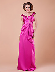 Lanting Sheath/Column Plus Sizes / Petite Mother of the Bride Dress - Fuchsia Floor-length Sleeveless Satin