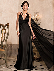 TS Couture Formal Evening Military Ball Dress - Open Back Celebrity Style Sheath / Column Halter V-neck Sweep / Brush Train Watteau Train