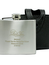 Gift Groomsman Personalized Thank you 5-oz Flask with Leather Holder
