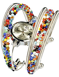 Lovely Alloy with Multicolor Beadings Quartz Dress Watch