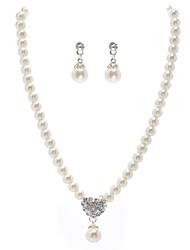 ivoire nacré deux pièces coeur mini-collier dames et ensemble de bijoux boucles d'oreilles (38 cm)