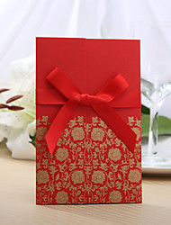 Personalized Tri-folded Wedding Invitation With Red Ribbon (Set of 50)