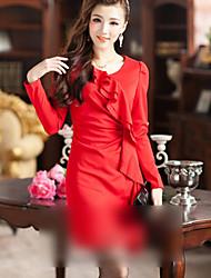 Women's Pleated Ruffle Dress
