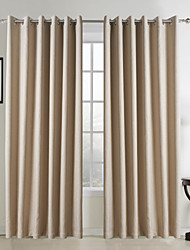 Neoclassical Two Panels Solid Beige Living Room Faux Linen Panel Curtains Drapes