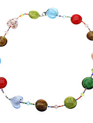 Roundness Pattern Colored Glaze a String of Colorful Beads Necklace