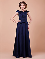 A-line Plus Sizes Mother of the Bride Dress - Dark Navy Floor-length Short Sleeve Taffeta