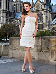 Lanting Bride® Sheath / Column Petite / Plus Sizes Wedding Dress - Chic & Modern / Reception Little White Dresses Knee-length Strapless
