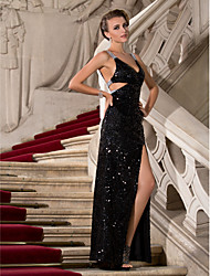 Sheath / Column V-neck Straps Floor Length Sequined Formal Evening Military Ball Dress with Split Front Sequins by TS Couture®