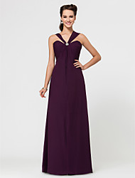 Floor-length Chiffon Bridesmaid Dress - Grape Plus Sizes Sheath/Column Sweetheart/Straps